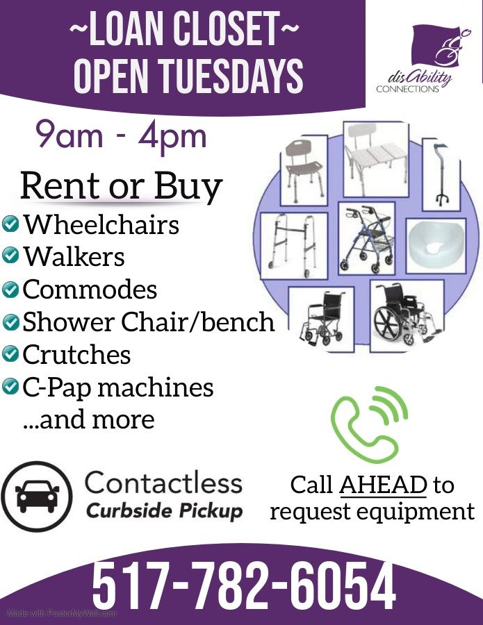 flyer saying our durable medical equipment will be available on Tuesdays to rent or buy with contactless curbside service.  Call 517-782-6054 to request equipment